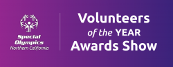 Volunteers of the Year graphic on a purple background