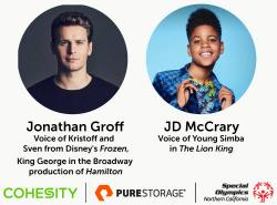 Jonathan Groff and JD McCray with SONC, Cohesity and Pure Storage logos