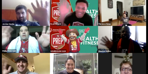 Screenshot of athletes and 49ers during a workout